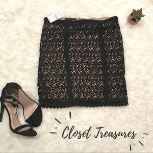 NWT $35 Kendall & Kylie Crochet Black Skirt S